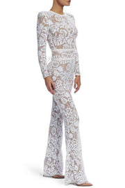 Lace Long Sleeves Lace Up Sheath Bandage Jumpsuit White
