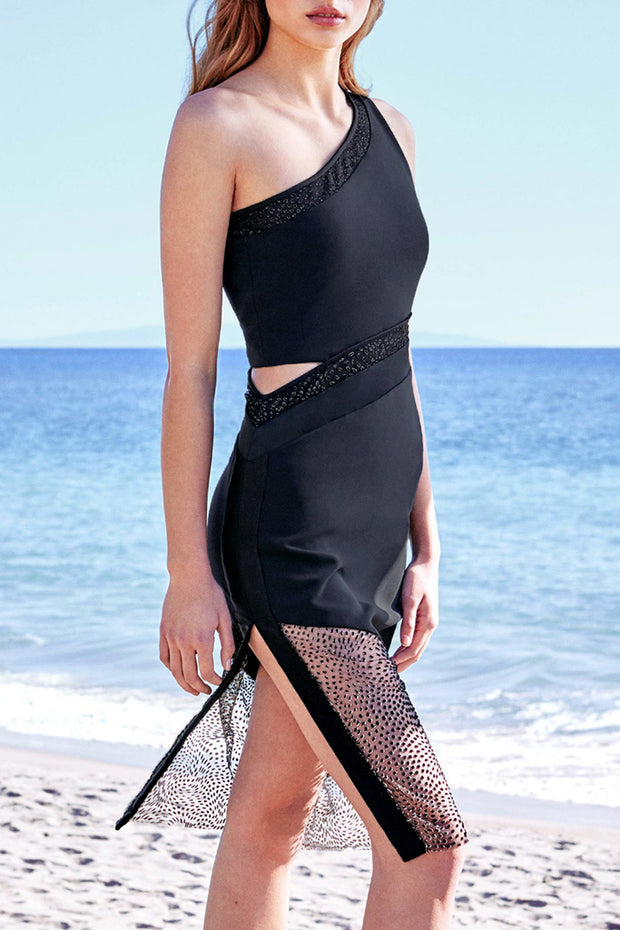 Fashion Sleeveless Mesh Split Dress-Black