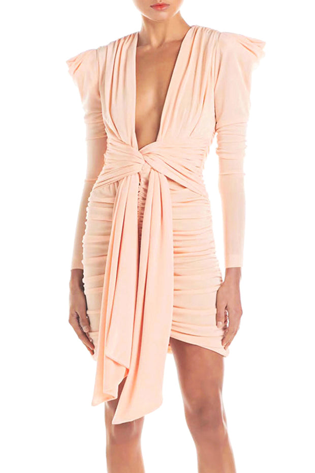 Sexy Plunge Long Sleeve Ruched Dress