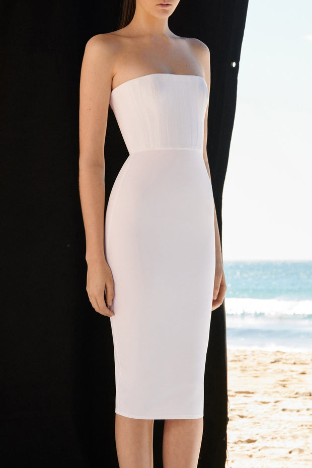 Strapless Ribbed Bodycon Midi Dress
