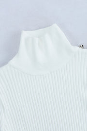 High Neck Long Sleeve Sweater -White