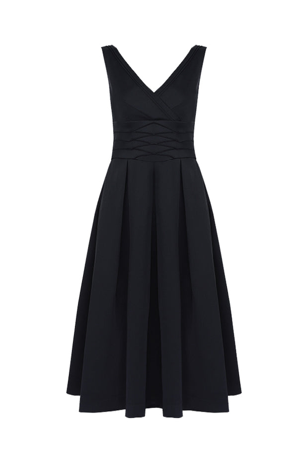 Black Sexy Women Midi V-neck Dress