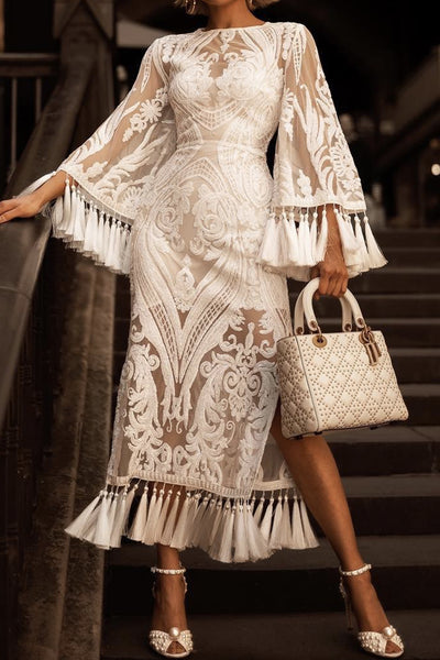 Lace Flare Sleeve Sequined Tassel Mid-Calf Dress