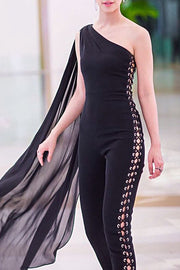Lace Up One Shoulder Bodycon Jumpsuit -Black