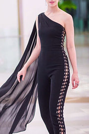 Black One Shoulder Cape Sleeves Skinny Pants Lace up Women Jumpsuits
