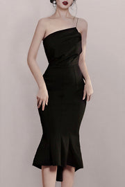 Chic One Shoulder Bodycon Mermaid Dress -Black