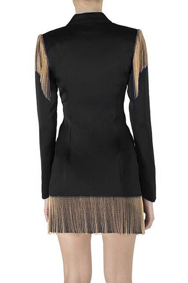 Long Sleeve Tassel Button Blazer Mini Dress