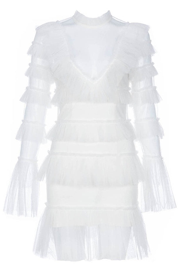 Cascading Mesh Flare Sleeve Mni Dress