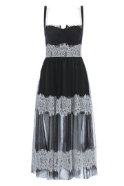 Emma Lace Sling Dress-Black