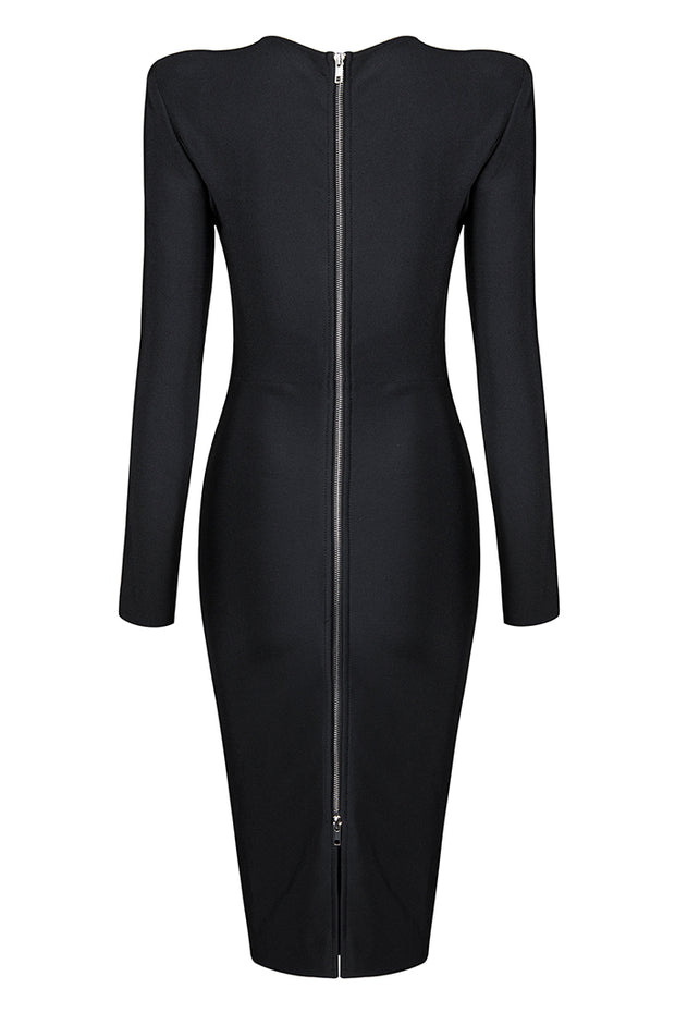 Asymmetrical Neck Long Sleeve Dress - Black