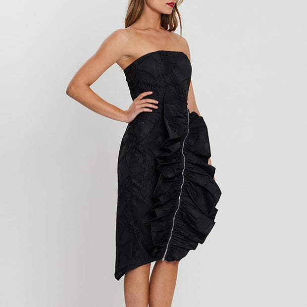 Bertha Strapless Ruffles Midi Dress