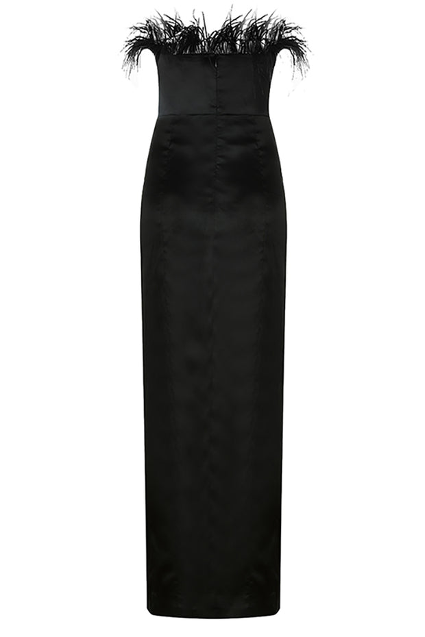 Lisa Feather Split Dress-Black