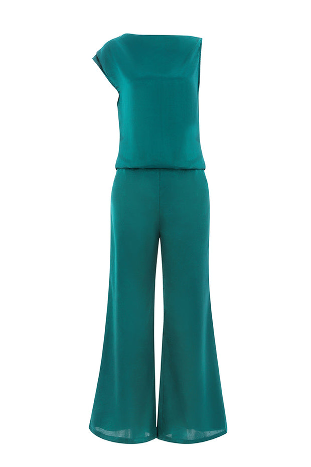 Emerald Asymmetric Top & Wide Legs Pants