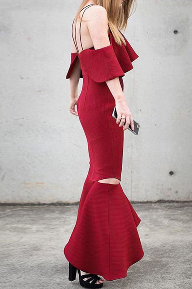 Off Shoulder Fishtail Summer Women Dress Slash Neck Party Fashion Backless Dress