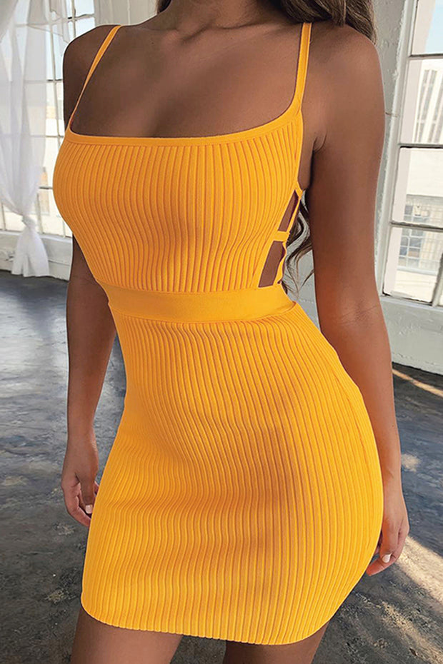 Sexy Sling Hollow Out Bandage Mini Dress