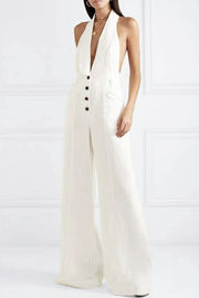Deep V Sleeveless Bodycon Jumpsuit