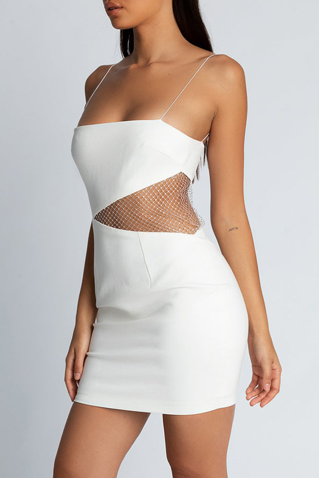 Spaghetti Strap Cut Out Side Mesh Mini Dress