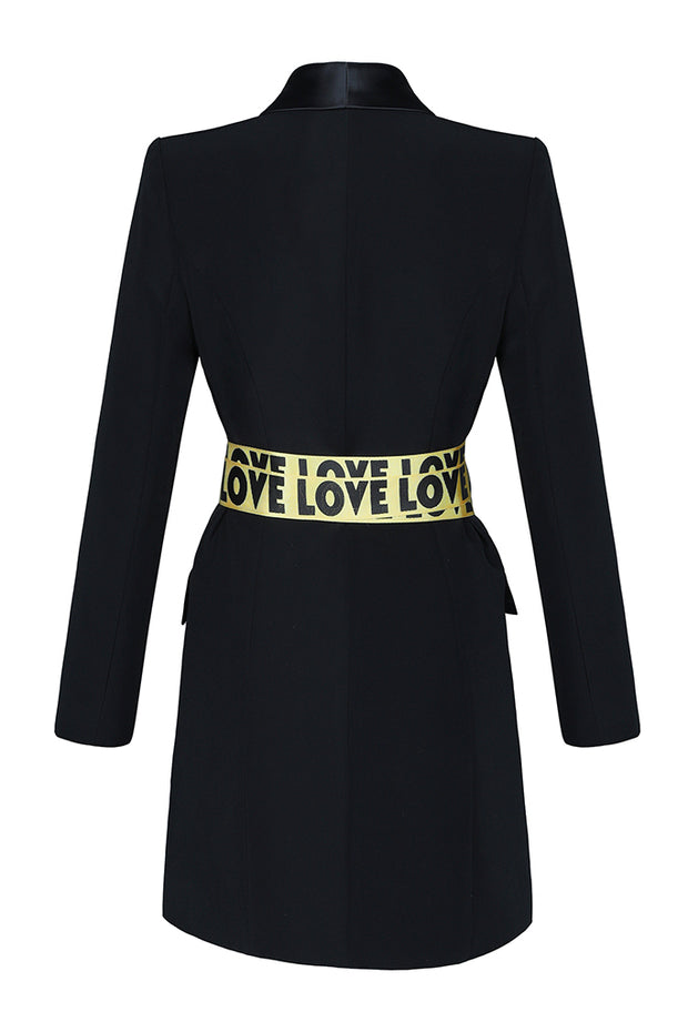 Long Sleeve Charmeuse Belt Blazer Dress Black