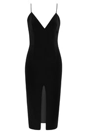 Deep V Neck Split Bodycon Midi Dress