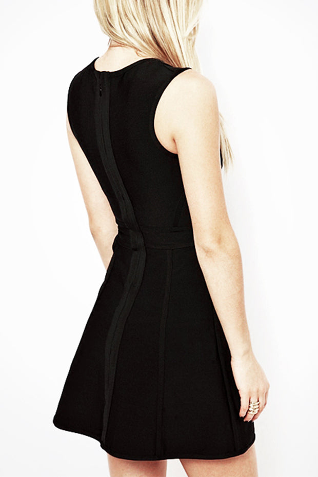 Sleeveless Plunge Mesh Skater Bandage Dress Black