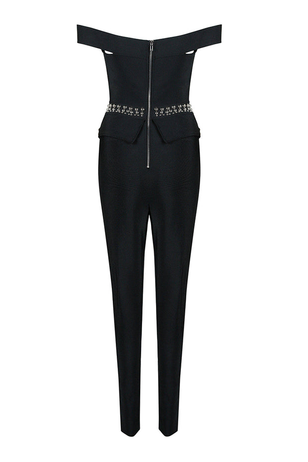 Off Shoulder Cut Out Embellished Skinny Jumpsuits
