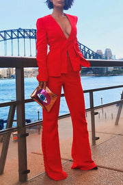 Red Deep V Hidden Button Flare Trousers Sexy Suits