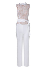 Round-Neck Lace Sleeveless Straight Jumpsuits