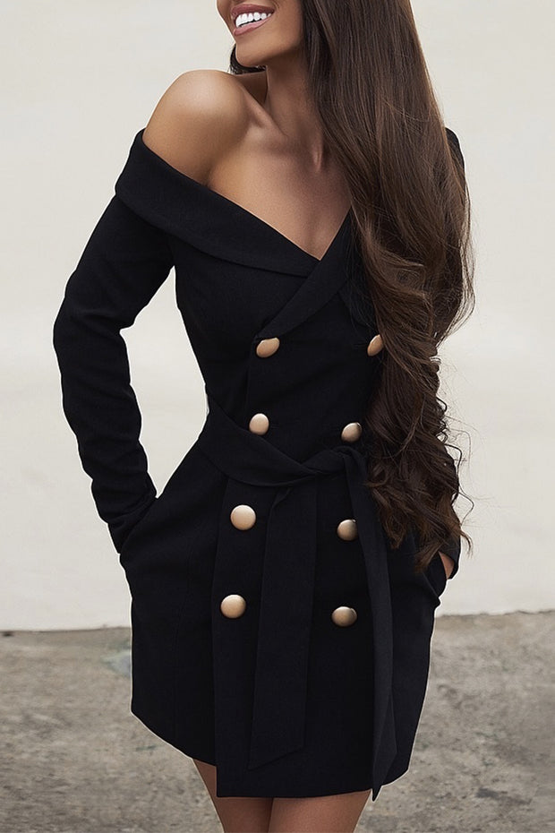 Off Shoulder Double Breasted Blazer Mini Dress