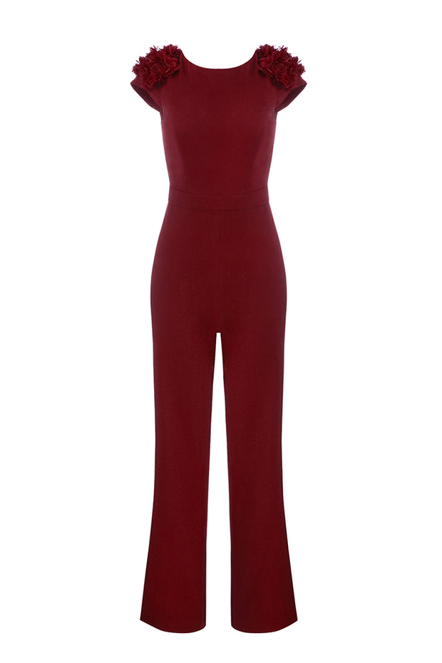 Claret-Red Backless Sleeveless Straight Pants Jumpsuits