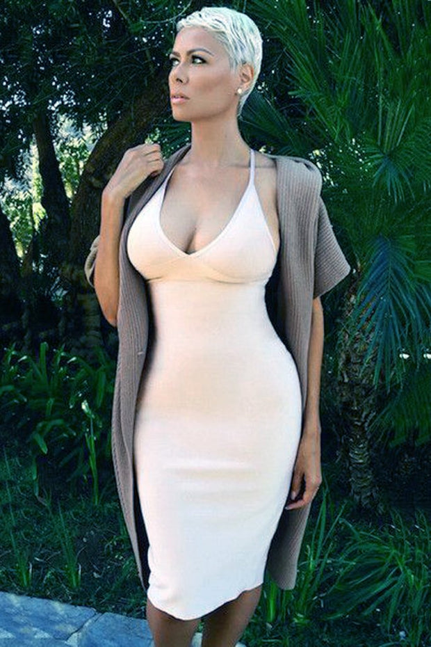 H1166-1 Bandage Dress - White