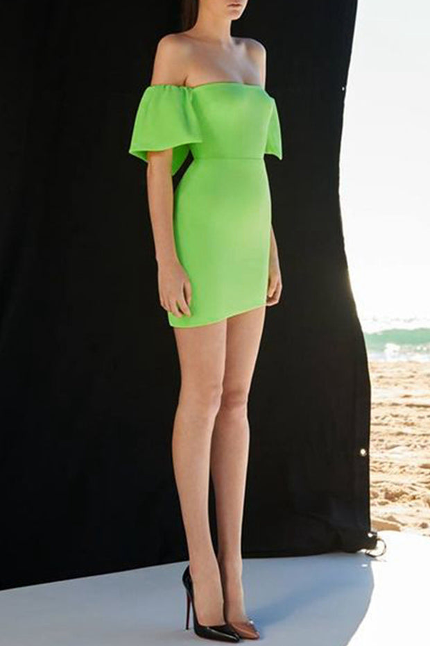 Off The Shoulder Mini Dress - Neon Green