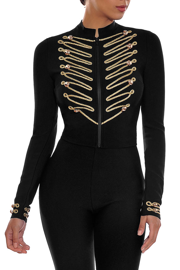 Black Long Sleeve Fashion Inwrought Coat Bandage Bodycon Short Tops