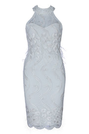 Halter Mesh Lace Bandage White Midi Dress