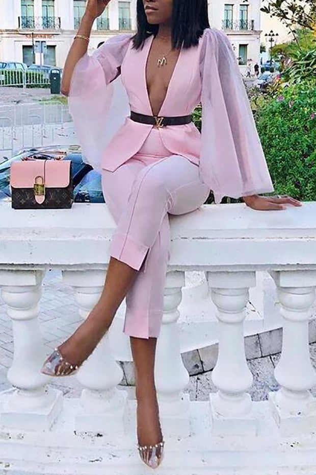 Callie Mesh Sleeve Two-Piece Sets-Pink
