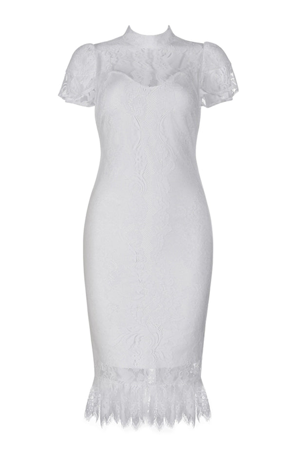 Sexy Lace Short Sleeve  Knee Length Lace Bandage Dress