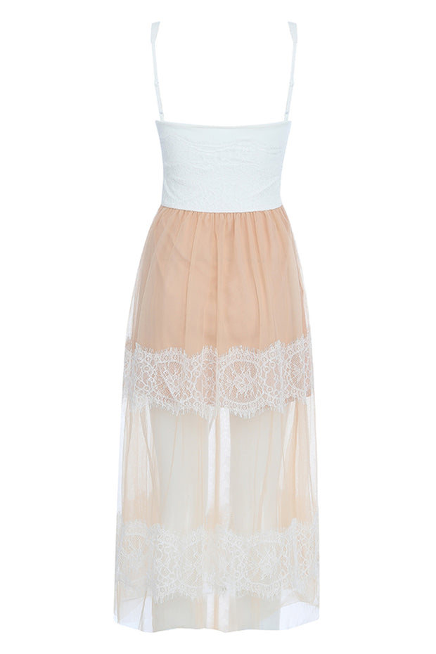 Emma Lace Sling Dress-White