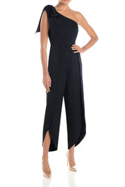 One Shoulder Bow Sleeve Romper Jumpsuit