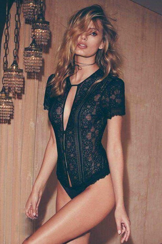 Lace Cut Out Bodysuit