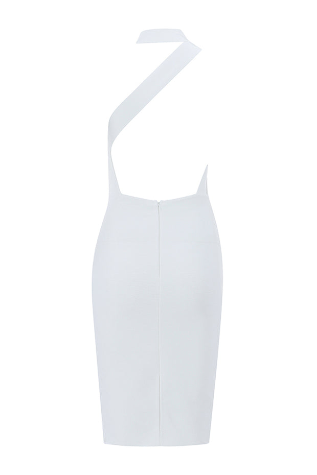 Cut Out Asymmetric Halter Midi Dress