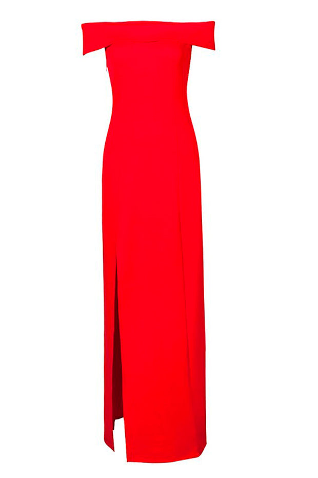 Off Shoulder High Split Elegant Maxi Dress