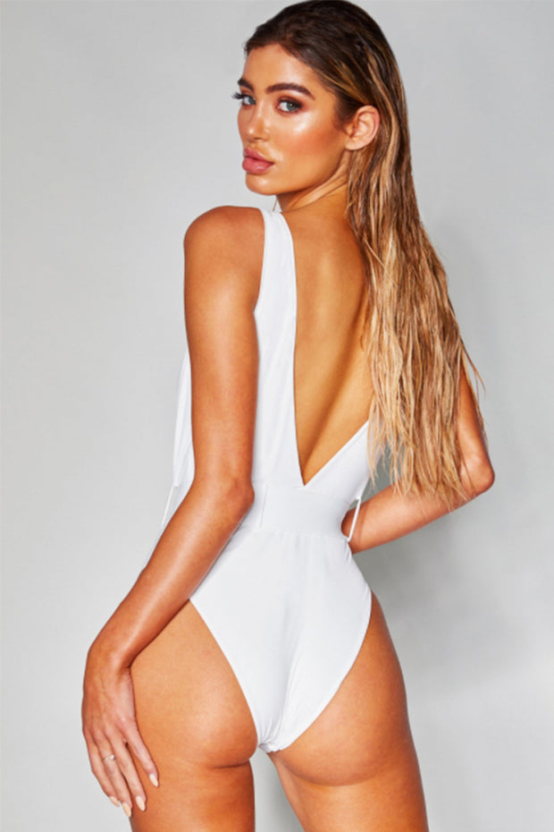 Plunge Belted Backless Bodysuit