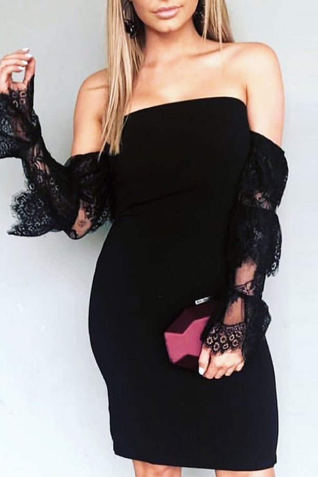 Off Shoulder Long Sleeve Lace Mini Dress