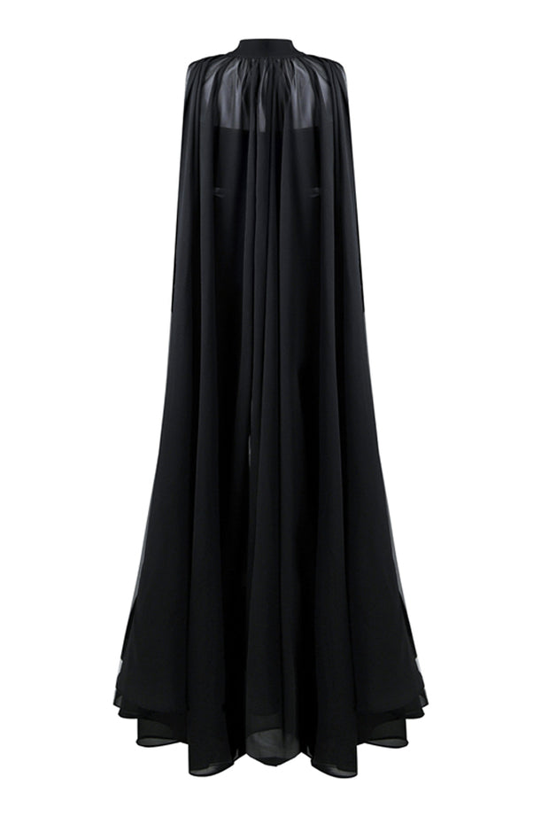 Cloak Bodycon Jumpsuit -Black