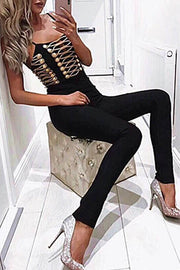 Officer Embellished Bandage Jumpsuit Black