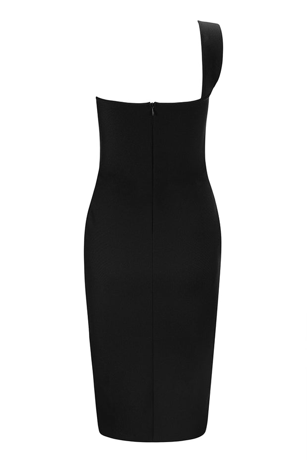 One Shoulder Cut Out Bodycon Midi Dress