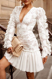 Deep V Long Sleeve Ruffles Lace Mini Dress