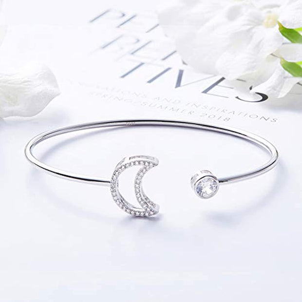 PETW Simple Open Cuff Bracelet for Women Sterling Silver Sun Moon Boho Adjustable Bangle Bracelets,Jewelry Gifts For Mother's Day