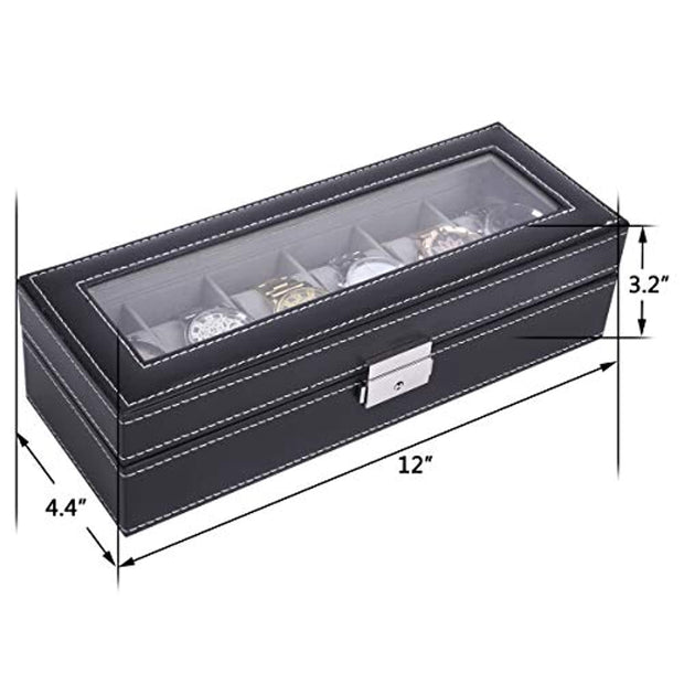 PETW Leather 6 Watch Box Glass Top Watch Jewelry Display Case Organizer,Black,AW-046