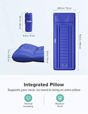 PETW Camping Sleeping Pad, Self Inflating Camping Mat with Built-in Pillow & Pump, Insulated & Ultralight, Compact Waterproof Fast Inflatable for Backpacking Hiking Tent, 5R-Value, Storage Bag