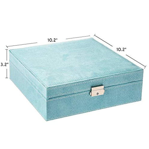 PETW Two-Layer lint Jewelry Box Organizer Display Storage case with Lock (Blue)